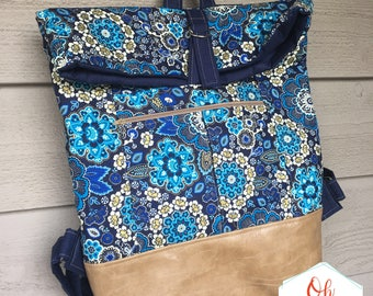 Range backpack, ready to ship bookbag, gold and blue