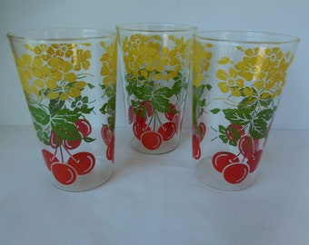 Vintage Juice Glasses with Cherries and Flower pattern/Set of Three
