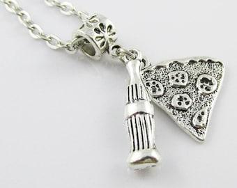 Pizza Slice & Soda Charm Best Friend Share BFF  Necklace 45cm silver tone chain