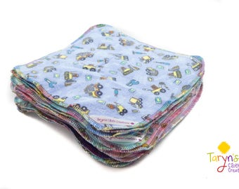 Big Stack of Cloth Wipes/ Reusable wipes / Flannel Wipes / Family Cloth/ baby wipes / reusable cloths / face cloths / flannelette wipes