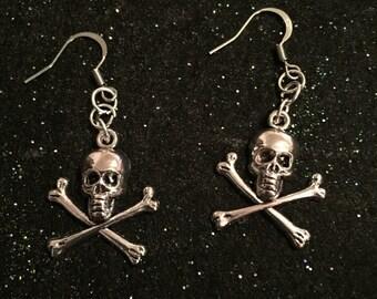 Skull earrings, goth earrings, skulls, skull and crossbones earrings, punk earrings, gothic earrings, gifts for her, Valentine's Day gift