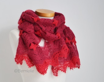 Crochet lace shawl, Red, Mohair, R623