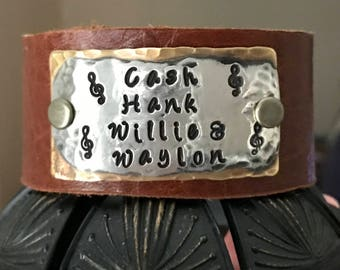 Cash Hank Willie & Waylon, song quote, lyric, music notes, hand stamped leather cuff bracelet