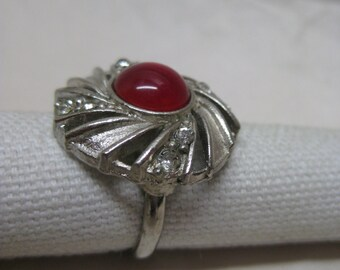 Red Cab Silver Ring Adjustable Rhinestone Clear Vintage