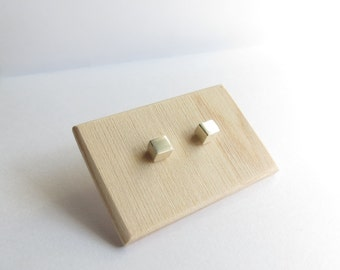 Graphic Minimalist Sterling Silver Cube Studs. Simple Sterling Silver studs. Everyday Silver Studs.