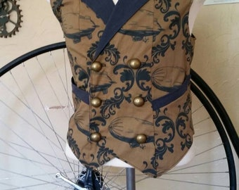 Cutom Made Steampunk Airship Double Breasted Vest with Pockets- Lord and Lady Towers Exclusive Fabric!