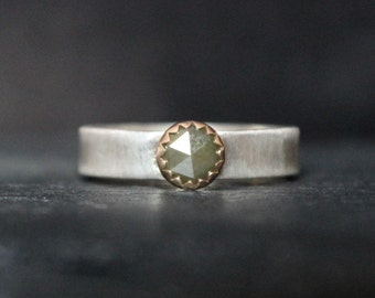 READY TO SHIP - Rose Cut Yellow Champagne Diamond 14K Yellow Gold Sterling Silver Ring | Size 6.5 | Gugma Women's Minimalist | Engagement