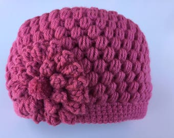 READY TO SHIP/Rose Pink Hat/Crochet/Knit Knitted Hat/Beanie/Cap/Warm Hat/Thick Chunky/Winter/Flower Hat/Adult/Women/Ladies/Girls Hat/Toque