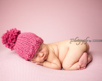 Knit Pom Pom Newborn Baby Hat Raspberry- Hibiscus Hat