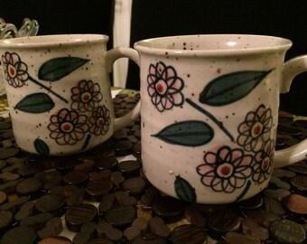 Vintage Unmarked Speckled Stoneware Japanese Mugs 1970's