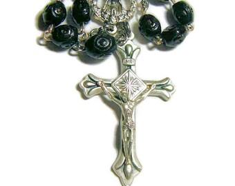 Tenner Rosary, One Decade Rosary, Black Carved Wood Beads, Pocket Rosary, Catholic Rosary