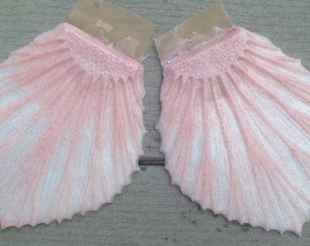 Ready to ship!  Peach and pearl glittery silicone fins for fabric or silicone mermaid tails (Rowan style, textured on one side)
