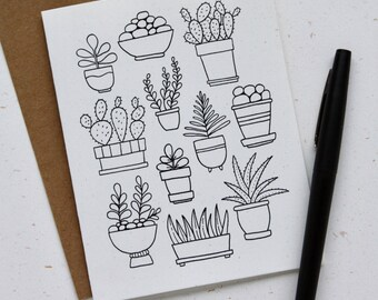 Houseplant Doodle Notecards (Set of 4)