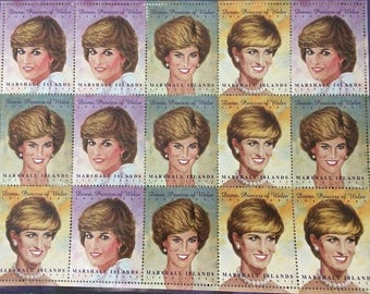 Diana Stamps Princess of Wales Postage Sheet Lady Di Marshall Islands 15 sixty-cent 1997