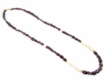Vintage AJC Co 14k Yellow Gold Garnet & Pearl Necklace - 14k Pearl Garnet Bead Necklace - Boho Garnet Pearl 14k Necklace - Garnet Necklace