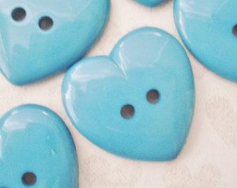 Vintage Heart Buttons - 10 Plastic Heart Buttons - Turquoise Heart Buttons - Whimsical Heart Buttons - Large Blue Heart Buttons