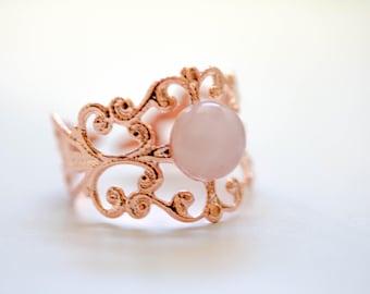 Anillo de cuarzo rosa, Rosegold, cuarzo rosa joyas, anillo vintage, hacen una deseo joyas, regalo de cumpleaños, Ohrringe, anillo rosenquarz