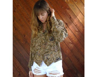 Brown Silk Paisley Button Down Blouse - Vintage 90s - M/L Petite