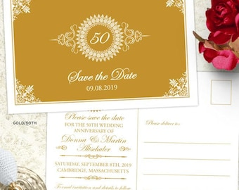 Medallion Wedding Anniversary Party Save the Date Postcard or Flat Card, 5 Color Options, Printable, Evite or Printed (US Only) Postcards
