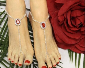 Barefoot Sandals, ruby, red, jewels, beaded, feet, foot jewelry, wedding, footless sandals, sandles, beach, destination, bridesmaids, bridal