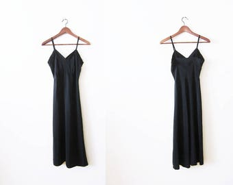 Vintage Slip / Black Slip Dress / 50s Full Slip / Vintage Lingerie / Jean Vernon / Lingerie Dress / Spaghetti Strap Dress / Slip XS S