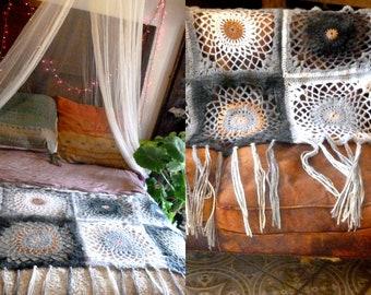 Mandala Dreamcatcher Blanket,  Boho  Shawl. Mandala Crochet Spring-Fall-Winter Shawl. OOAK Design.  Crochet Shawl with  Fringes