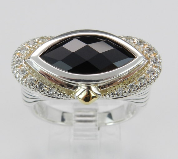 SALE Marquise Onyx White Sapphire Ladies Ring Sterling Silver 18K Yellow Gold Size 7