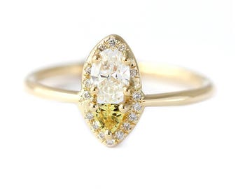 Cluster Diamond Ring, Diamond & Sapphire Ring, Yellow Sapphire Ring, Oval Cut Diamond Engagement Ring, Sapphire Engagement Ring