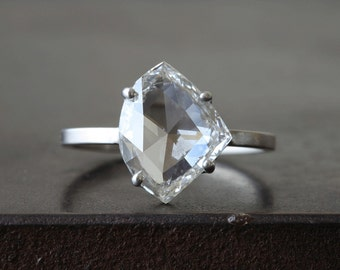 Custom Clear- White Rose Cut Diamond Ring