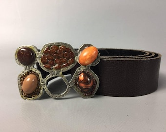 Gemstone Belt Buckle Vintage Belt Brown Belt Waist Belt Genuine Leather Belt Leather Custom Belt 90s Belt Womens Belt Stone Buckle Boho Belt