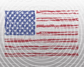 Distressed American Flag SVG,USA Flag SVG File-Cutting Template-Vector Clip Art Commercial & Personal Use-Cricut,Cameo,Silhouette,Vinyl