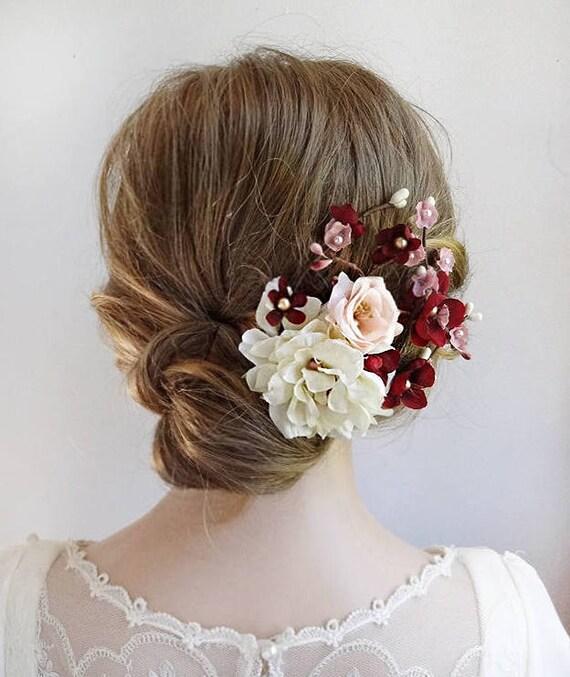 Ivory Flower Hair Clip Wedding: Burgundy Hair Accessories Burgundy Wedding Hair Clip Ivory