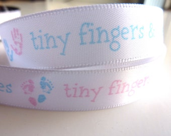 """5/8 in. 5 yards Blue Embossed It's a Boy Single-face Satin Ribbon Trim. 5/8"""" wide"""