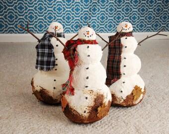 Whimsical Snowman, Whimsical Primitive Snowman, Southern Snowman, Dirty Snowman OOAK Snowman