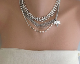 2 Brooch Necklaces,Purchasable  Wedding Necklace , Brides, bridesmaids, rhinestone necklace and earrings