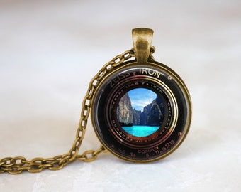 ZEISS IKON Camera Lense Photocopy Necklace, Waterfall Necklae, Beach Necklace, Vintage Style Necklace, Steampunk Necklace Camera Necklace