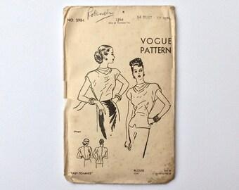 FF B34 1940s Blouse Sewing Pattern : Vogue 5984