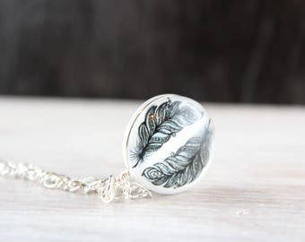 Silver Necklace with Feathers