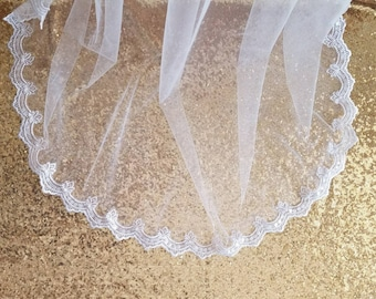 Wedding veil / tulle veil / lace veil/ white veil / chapel length veil / one tier veil / beaded lace wedding veil / lace wedding veil