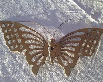 "Vintage 10"" Hampton Brass Butterfly Wall Decor India"