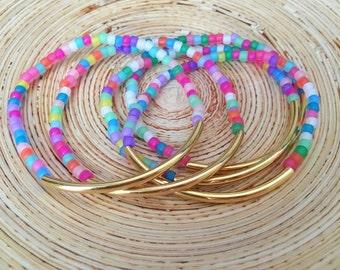 Colorful Seed Bead Bangle Set