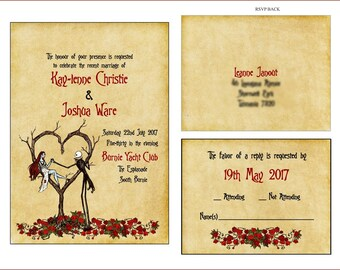 INVITES & RSVP Vintage Fall Autumn Halloween Spooky Burton with Roses Original Style Wedding Invitation Suite