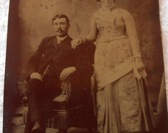 antique tin type photograph of a couple