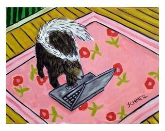 Skunk Working From Home Art print  JSCHMETZ modern abstract folk pop art AMERICAN ART gift