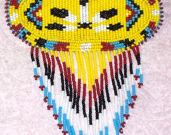Native American Beaded Feather Hair Barrette