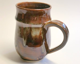 Large Dark Amber or Brown and Green Handmade Mug - Wheel Thrown Pottery - Holds 18 to 20 ounces - Not Quite a Mega Mug!