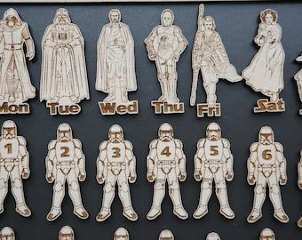Star Wars Calendar Magnets; Perpetual Wooden Calendar; Set of Star Wars Magnets; Custom Wooden Calendar