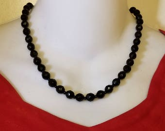 Vintage Black Jet Glass Faceted Beaded Single Strand Necklace with Gold Tone Clasp