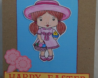 Happy Easter Card Handmade Hand Coloured Easter Marci