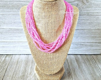 Pink necklace, pink bead necklace, solid pink necklace, pink multi strand necklace, pink beads, pink beaded necklace, adjustable length